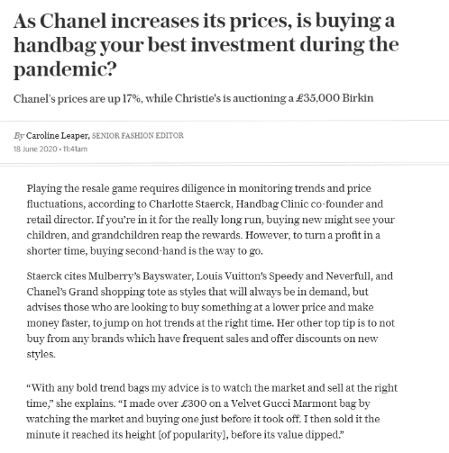 Telegraph article on investing in handbags