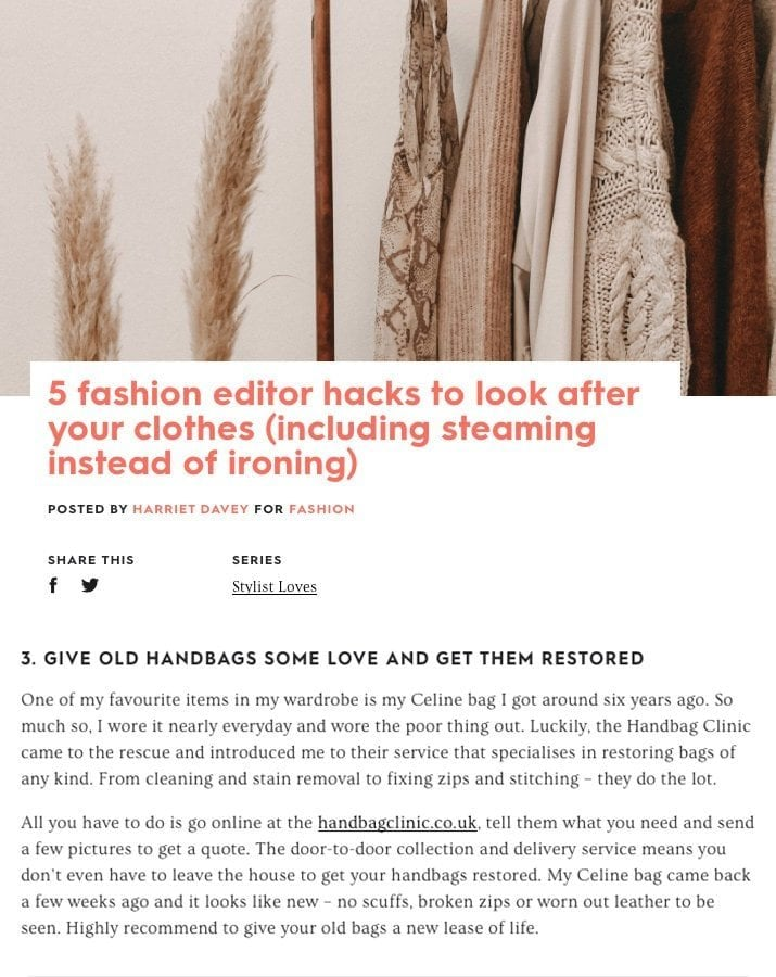 Stylist Article - How to look after your clothes hacks