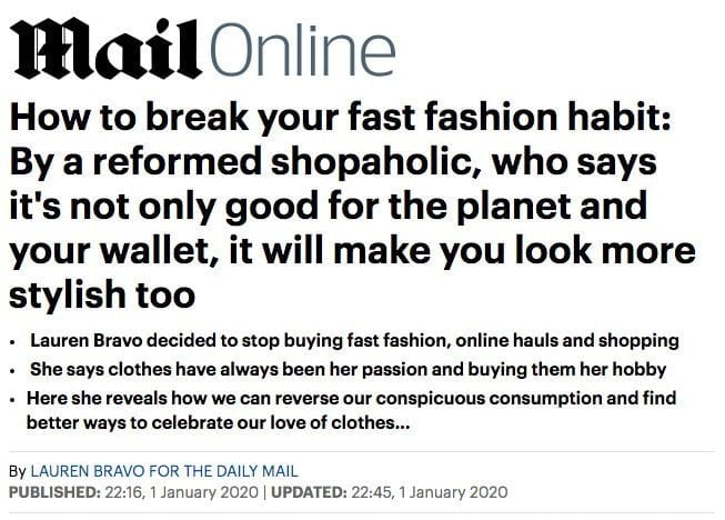 Mail Online Article About Fashion Sustainability