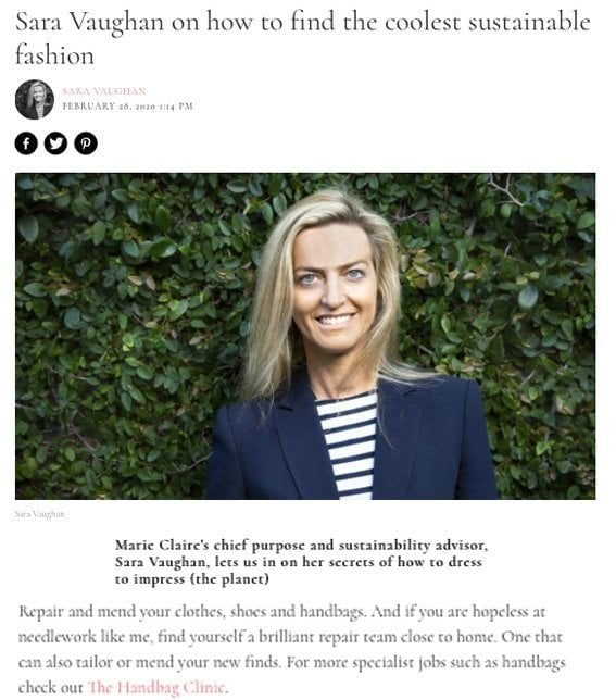 Marie Claire article - Sara Vaughan on how to find the coolest sustainable fashion