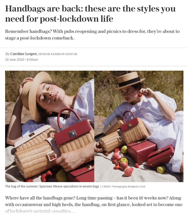 Telegraph - Handbags are back